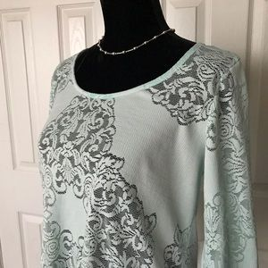 gimmicks by BKE Tops - Stylish mint green lace long sleeved top